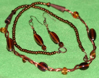 Copper Braided Necklace and Earrings with amber colored lampwork beads