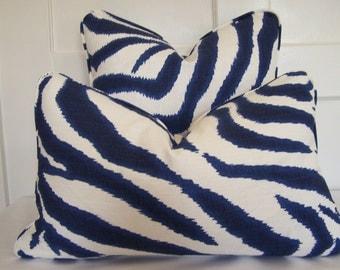 Lumbar Zebra Ikat Designer Pillow Cover with Piping, 18x18, 20x20, and Lumbar sizes, Decorative Pillow, Accent Pillow, Throw Pillow