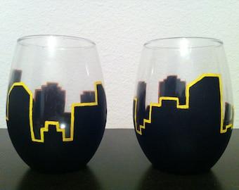 Hand Painted City Skyline Wine Glasses - set of 2