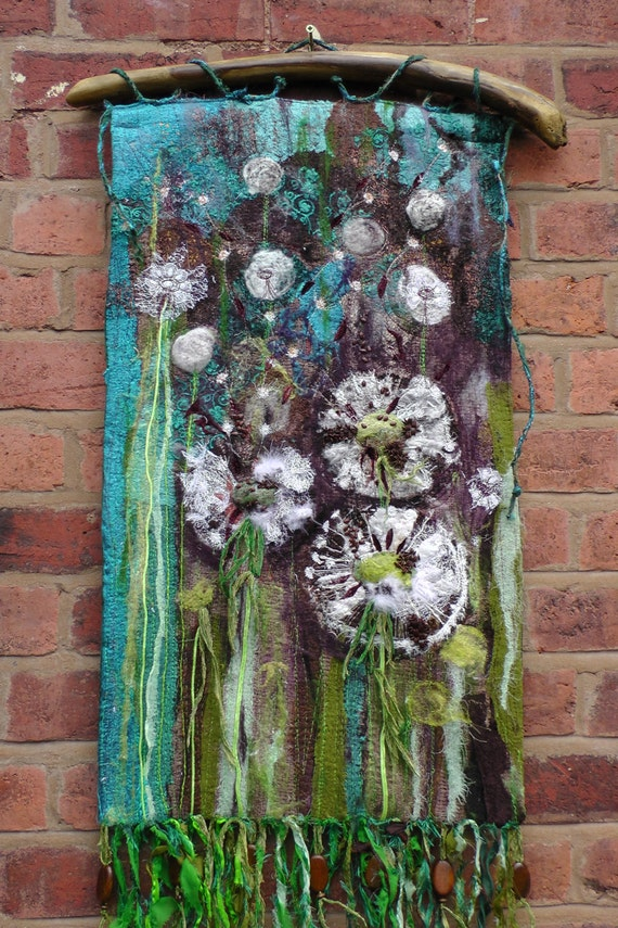 dandelions textile wall hanging fibre art seeds turquoise