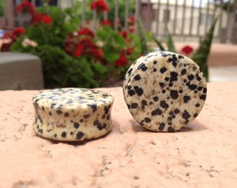 "Dalmatian Jasper Stone Plugs 8g 6g 4g 2g 0g 00g 1/2"" (12.7mm)"