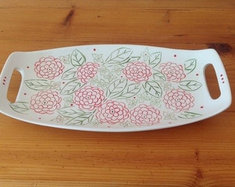 Hand Painted Ceramic Rectangle Sandwich Plate with Handles - Country Garden Design