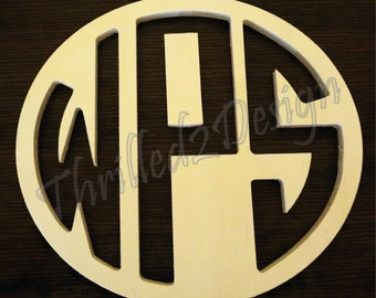 28 inch Reversed Cut connected Circle Wooden Monogram Letters - Wedding, Nursery, Home Decor