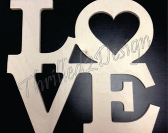 Wooden Stacked Letters - LOVE style Unpainted