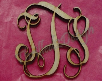 3 inch Vine Connected Laser Cut Wooden Monograms