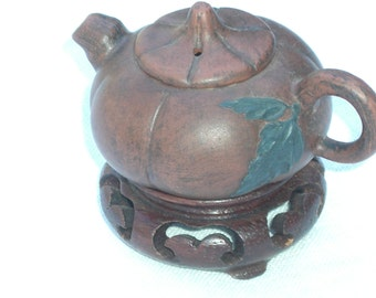 Miniature Teapot - Chinese  - Ceramic - Wooden Stand - Vintage