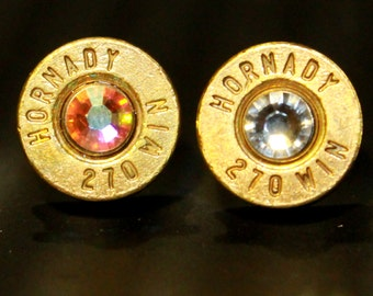 Handmade bullet stud earrings with Swarovski Elements