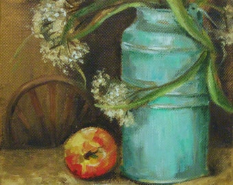 "Still Life Turquoise, Tin Vase With Apple, Original Oil Small Painting (6"" x 6"")"