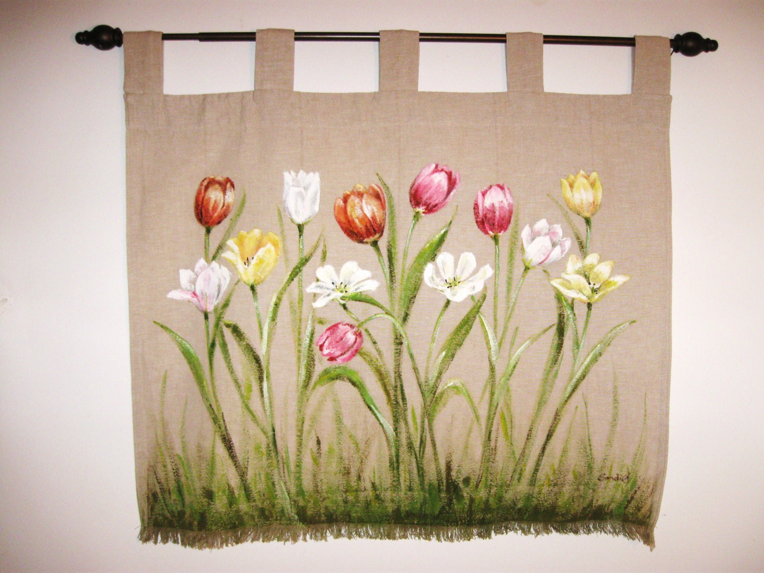 Tulips Spring Floral Wall Hanging Hand Painted Fiber Wall