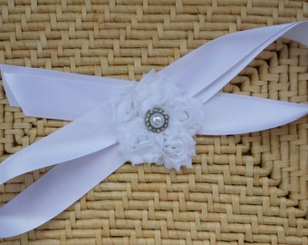 White Flower Ribbon Sash
