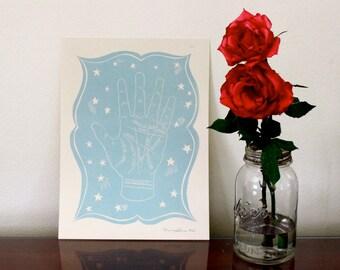 Palmistry Linocut Print