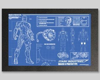 Iron Man Suit Blueprints 16x24