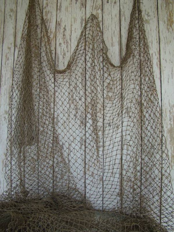 Old used fishing net 10 ft x 10 ft vintage fish netting for Fish netting decor