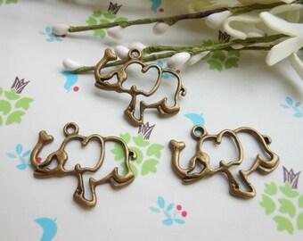 SALE--20 PCS 30x21mm Lovely Elephant Charm Pendant --Antique Bronze