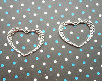 20pcs 35x25mm Antique Silver Lovely Heart Charm Pendants