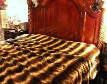 Plush Faux Fur Brown Chinchilla Bedspread / Comforter / Throw Blanket / Custom Made / USA / Lined / All New Sizes