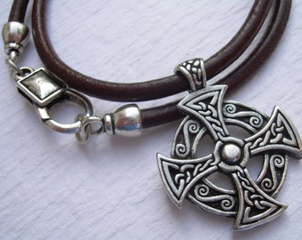 Cross Necklace, Celtic Cross, Leather Necklace, Mens Necklace, Necklace, Celtic Pendant, Mens Jewelry, Mens Gift, Pendant, Leather Jewelry,