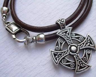 Leather Necklace, Celtic  Cross, Pendant , Men's Cross Necklace, Men's Jewelry,Men's Gift, Pendant, Cross, Mens Gift,