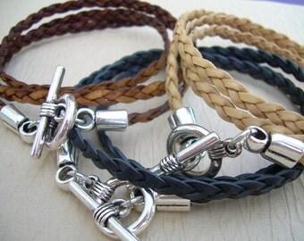 Flat Braided Leather Wrap Bracelet, Triple Wrap, Flat Braided, Mens Bracelet, Mens Jewelry, Mens Gift, Womens Bracelet, Womens Jewelry
