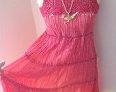 Vintage 70s Boho Ethnic Hippie Red Crochet Cotton Gauze Dress Mexico