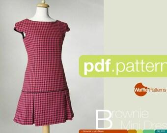 PDF sewing pattern. Women Mini dress -Brownie- (size 34-48)