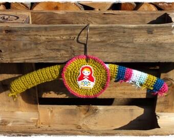 Coat hanger, crochet, RETRO with matryoshka