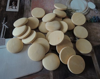 50 Pcs 20mmNatural Wood Circles Wooden discs Unfinished round disk  No hole  No Varnish (W048)