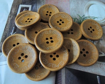 12Pcs  30mm Brown coffee  Wood button 4 holes( W095)