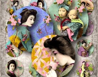 "Geisha Circles - 1.5"" - Digital Collage Sheet - instant download"