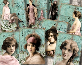 """Vintage Beauties - 2.5x3.5"""" Cards/Tags/Labels - Digital Collage Sheet (048) - instant download"""