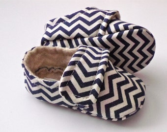 JACK Tiny Chevron Baby Boy Shoes - Navy.