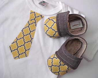 TIE Yellow and Gray baby boy shoe/ one piece set. Baby - Gift Set