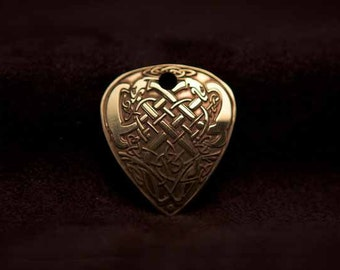 Celtic Art Pendant Etched in Brass. Adapted from The Book of Kells.
