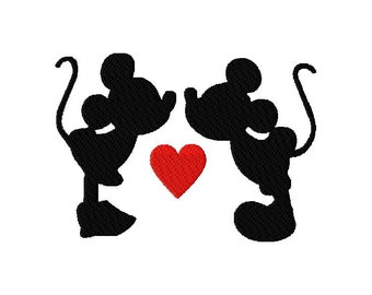 INSTANT DOWNLOAD Walt Disney Mickey and Minnie Mouse Kissing in Silhouette Machine Embroidery Design