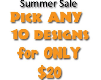 Pick ANY 10 of our huge selection of awesome machine embroidery designs for only 20 dollars