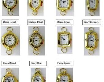 Watch Face Narmi and Geneva Gold Looped Watch Faces Oval Watch Face Square Wtch Face Round Watch Face Beading Watch Face - 1 Piece