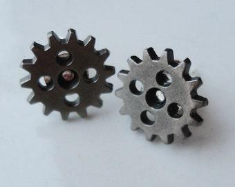 Metal Gears Cogs Antique Silver 5 Hole Steampunk 13mm Stud Earrings