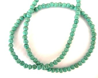 100PCS Turquoise Beads 4mm, Bead strand, synthetic turquoise, turquoise blue green