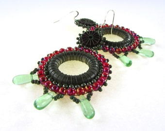 Summery Ruby and Olive Beaded Efflorescence Earrings