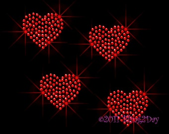 Set of 4 - RED Hearts - Iron on Rhinestone Transfer Bling Hot Fix Love Sparkling Applique - DIY