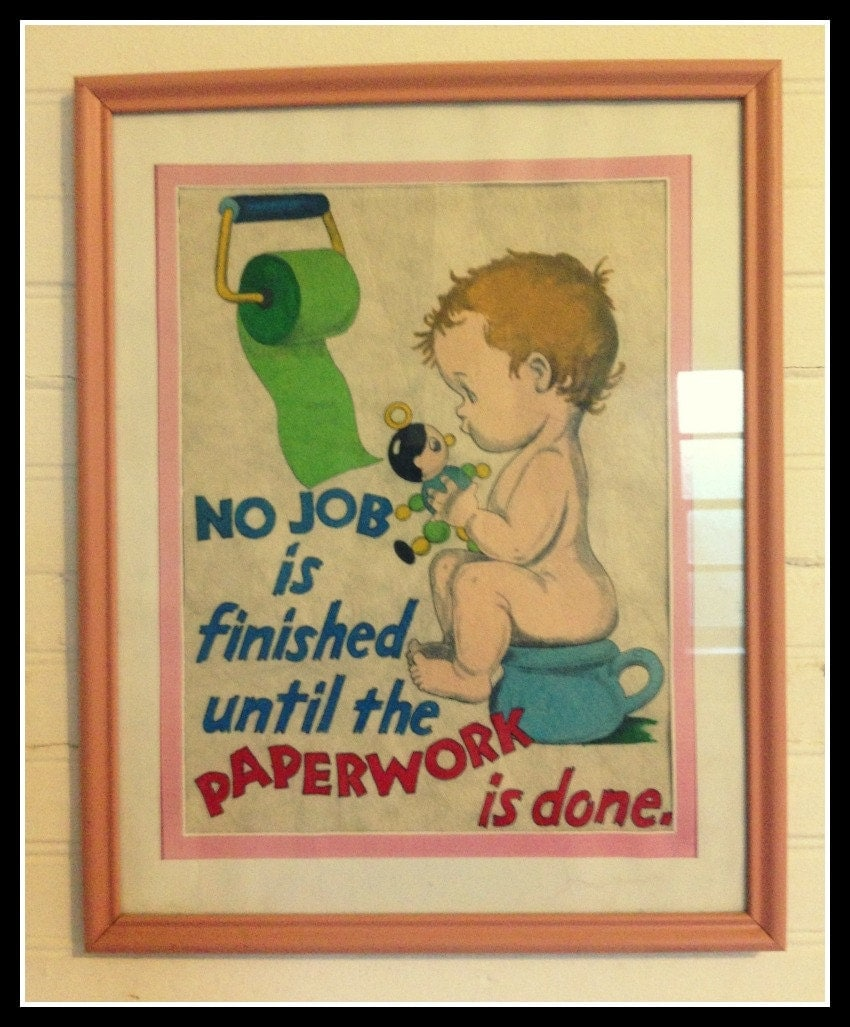 no job is finished cute vintage bathroom art illustration request a custom order and have something made just for you