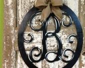 Monogrammed Wreath / Initial Door Hanger / Custom Wall Decor