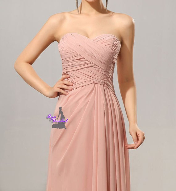 Grey Long Bridesmaid Dress chiffon strapless evening by ...