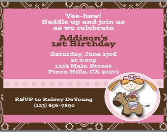 Pink and Brown Cowgirl Invitation