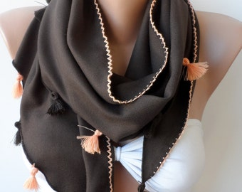 Chocolate Pashmina Shawls, Summer scarf, Cowl with lace edge, lace.scarf, Women scarf, Wedding scarf,Triangle, Brown scarf, Bridesmaid shawl