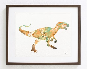 Orange T-Rex Dinosaur Art Print - Watercolor Print - 8x10 Archival Print - Children's Wall Art, Wall Decor Art Home Decor