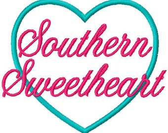 Southern Sweetheart Applique Embroidery Design -INSTANT DOWNLOAD-