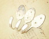Wall Hooks Upcycled - Set of Three - Vintage Spoon Coat Hangers - Curtain Tie Back - Silver Plated Silverware - Shabby Chic
