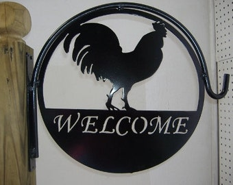 Rooster Welcome Metal Plant Hanger