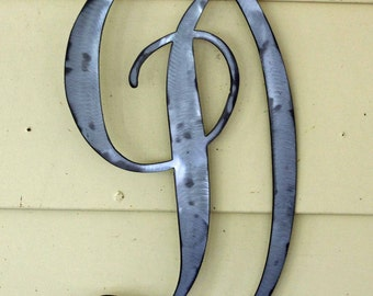 "22 inch Polished Metal Script Letter ""D"" Door or Wall Hanging"